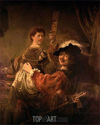 Self Portrait with Saskia in the Parable of the Prodigal Son, c.1635 | Rembrandt | Painting Reproduction