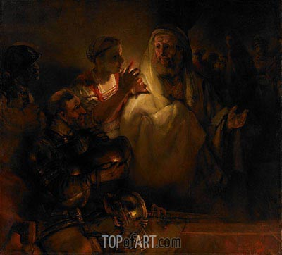 The Denial of St. Peter, 1660 | Rembrandt | Gemälde Reproduktion