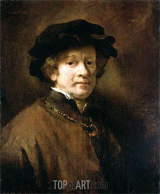 Self Portrait with Cap and Gold Chain, 1654 | Rembrandt | Gemälde Reproduktion