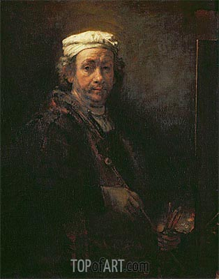 Self Portrait at his Easel, 1660 | Rembrandt | Gemälde Reproduktion