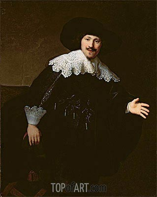 Portrait of a Seated Man Rising from his Chair, 1633 | Rembrandt | Painting Reproduction