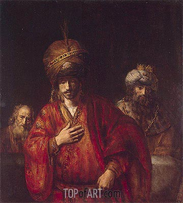 Haman Recognizes His Fate, 1665 | Rembrandt | Painting Reproduction
