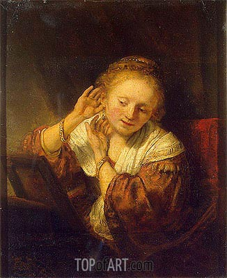 Young Woman with Earrings, 1657 | Rembrandt | Gemälde Reproduktion