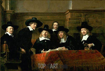 The Syndics (De Staalmeesters), 1662 | Rembrandt | Painting Reproduction