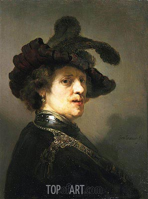Portrait of a Man with Hat with Plume, c.1635/40 | Rembrandt | Gemälde Reproduktion
