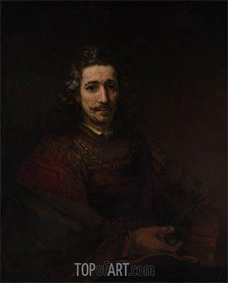 Man with a Magnifying Glass, c.1660/64 | Rembrandt | Gemälde Reproduktion