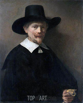 Portrait of a Man Holding Gloves, 1648 | Rembrandt | Gemälde Reproduktion