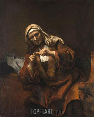 Old Woman Cutting Her Nails, 1648 | Rembrandt | Painting Reproduction