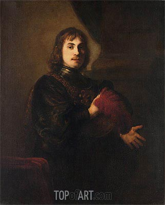 Portrait of a Man with a Breastplate and Plumed Hat, Undated | Rembrandt | Gemälde Reproduktion