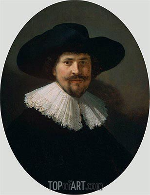 Portrait of a Man Wearing a Black Hat, 1634 | Rembrandt | Gemälde Reproduktion