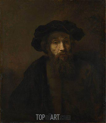 A Bearded Man in a Cap, c.1655/60 | Rembrandt | Gemälde Reproduktion
