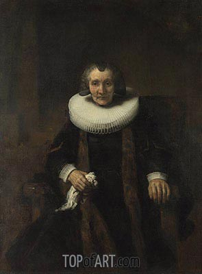 Portrait of Margaretha de Geer, Wife of Jacob Trip  from Portraits of Jacob Trip and his Wife Margaretha de Geer, c.1661 | Rembrandt | Painting Reproduction