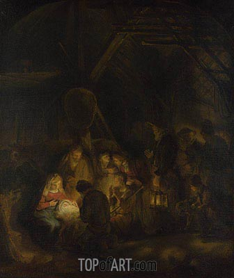 The Adoration of the Shepherds, 1646 | Rembrandt | Gemälde Reproduktion
