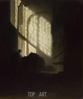 A Man Seated Reading at a Table in a Lofty Room, c.1628/30 | Rembrandt | Gemälde Reproduktion