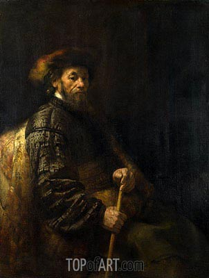 A Seated Man with a Stick, Undated | Rembrandt | Painting Reproduction