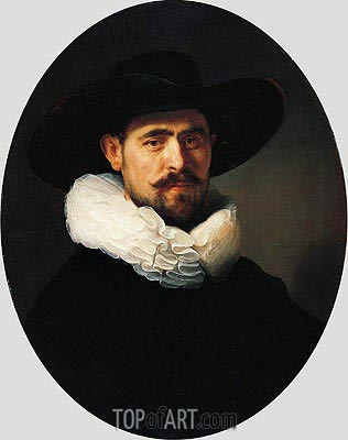 Portrait of a Bearded Man in a Wide-Brimmed Hat, 1633 | Rembrandt | Gemälde Reproduktion