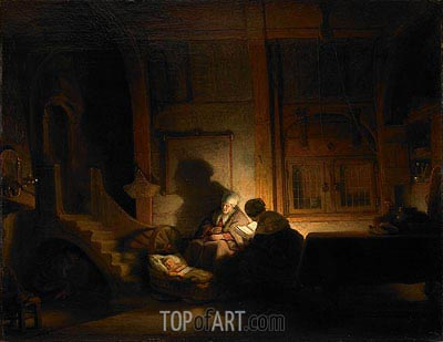 The Holy Family at Night, 1648 | Rembrandt | Gemälde Reproduktion