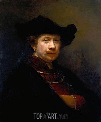 Self Portrait in a Flat Cap, 1642 | Rembrandt | Painting Reproduction