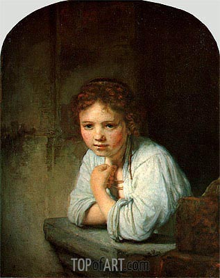 Young Girl in the Window, 1645 | Rembrandt | Painting Reproduction