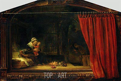 Holy Family with a Curtain, 1646 | Rembrandt | Gemälde Reproduktion