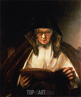Old Woman Reading, 1655 | Rembrandt | Gemälde Reproduktion