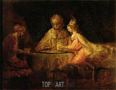Ahasuerus, Haman and Esther, 1660 | Rembrandt | Painting Reproduction