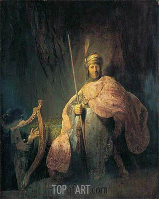 David Playing the Harp before Saul, c.1630 | Rembrandt | Gemälde Reproduktion