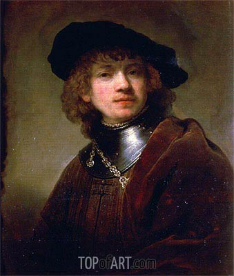 'Tronie' of a Young Man with Gorget and Beret, c.1639 | Rembrandt | Gemälde Reproduktion