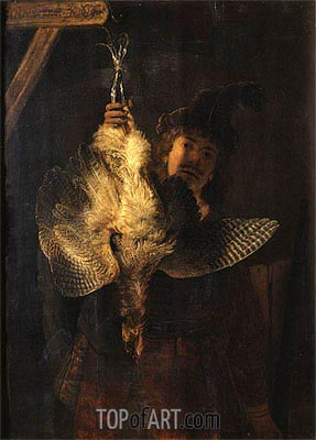 Self Portrait with Bittern, 1639 | Rembrandt | Gemälde Reproduktion