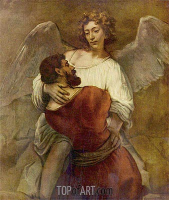 Jacob Wrestling with the Angel, c.1659/60 | Rembrandt | Painting Reproduction