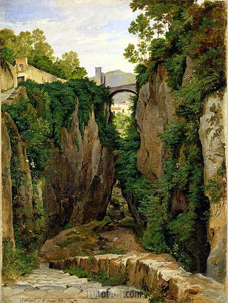 Rocky Ravine at Sorrento, 1823   Heinrich Reinhold   Painting Reproduction