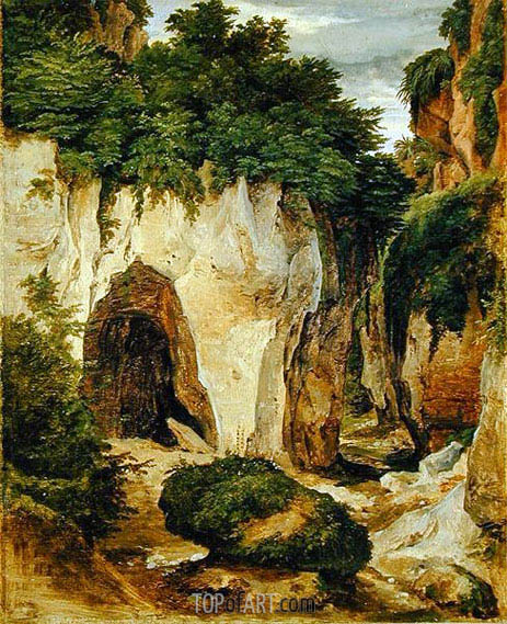 Rocks at Sorrento, 1823 | Heinrich Reinhold | Painting Reproduction