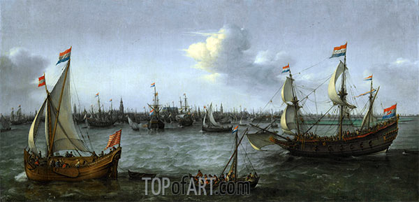The Harbour in Amsterdam, 1630 | Hendrick Cornelisz. Vroom | Painting Reproduction