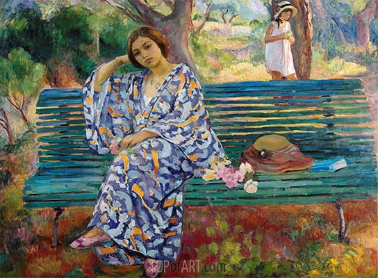 On the Green Bank, Sanary, 1911 | Henri Lebasque | Painting Reproduction