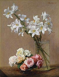 Roses and Lilies, 1888 by Fantin-Latour | Painting Reproduction