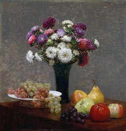 Asters and Fruit on a Table, 1868 by Fantin-Latour | Painting Reproduction
