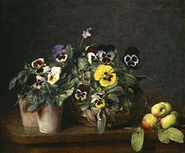 Still Life with Pansies, 1874 by Fantin-Latour | Painting Reproduction