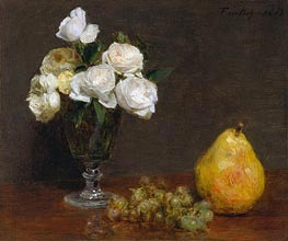 Still Life with Roses and Fruit | Fantin-Latour | Painting Reproduction