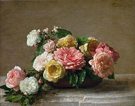 Roses in a Bowl, 1882 by Fantin-Latour | Painting Reproduction