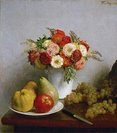Flowers and Fruits, 1865 by Fantin-Latour | Painting Reproduction