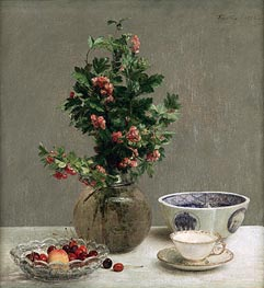Still Life with Vase of Hawthorn, Bowl of Cherries, Japanese Bowl, Cup and Saucer | Fantin-Latour | Painting Reproduction