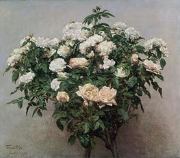 Still Life with White Roses, 1875 by Fantin-Latour | Painting Reproduction