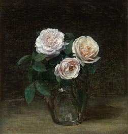 Still Life - Roses, 1877 by Fantin-Latour | Painting Reproduction