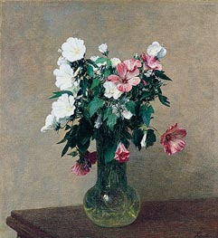 White and Pink Mallows in a Vase, 1895 by Fantin-Latour | Painting Reproduction