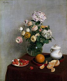 Flowers and Fruit, 1866 by Fantin-Latour | Painting Reproduction