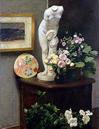 Still Life with Torso and Flowers, 1874 by Fantin-Latour | Painting Reproduction