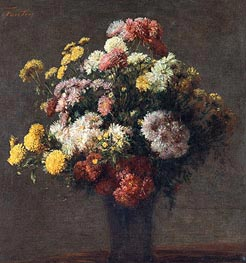 Chrysanthemums In Vase, 1875 by Fantin-Latour | Painting Reproduction
