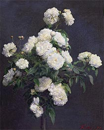 Still Life of White Peonies, 1870 by Fantin-Latour | Painting Reproduction