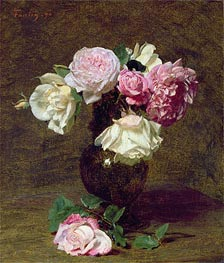 Pink and White Roses, 1890 by Fantin-Latour | Painting Reproduction