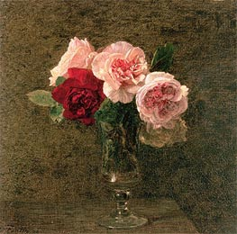 Still Life of Pink and Red Roses, 1886 by Fantin-Latour | Painting Reproduction